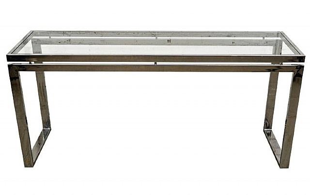 milo baughman chrome console table by milo baughman