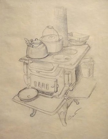 "cookstove, with apple pie, study for ""farming"" segment by thomas hart benton"