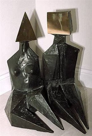 2 seated figures by lynn chadwick