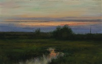 evening on the marsh (sold) by dennis sheehan