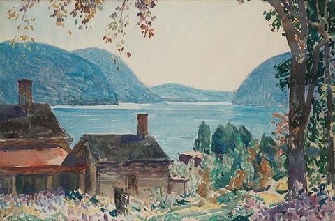 old houses on the hudson, ny by childe hassam