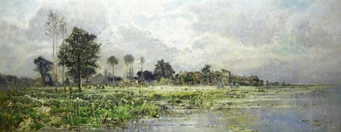 a landscape in spring with a village on the water by karl heffner