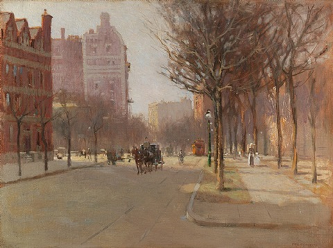 a spring day, new york by paul cornoyer