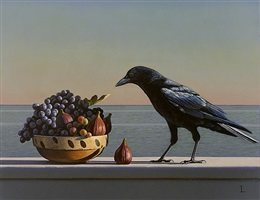 still life with grapes, figs and crow (aparchai) by david ligare