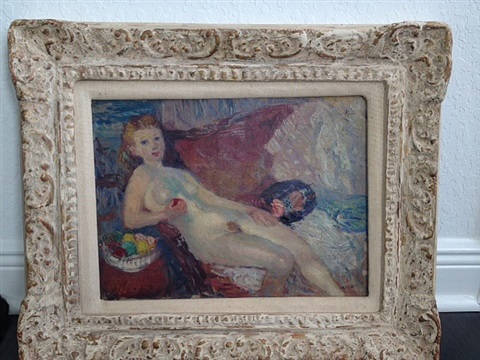 study with nude with apple by william glackens