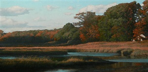 fall marsh, late afternoon (sold) by peter bergeron
