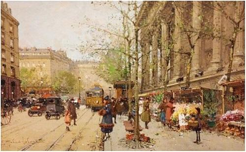 marché aux fleurs place de la madeleine by eugène galien-laloue