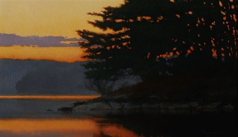 sunrise on the lake (sold) by peter bergeron