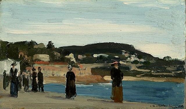 promenade along the beach, nice by charles sheeler
