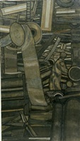 factory interior (wool carding shop) by prunella clough