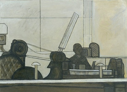 man with printing press by prunella clough