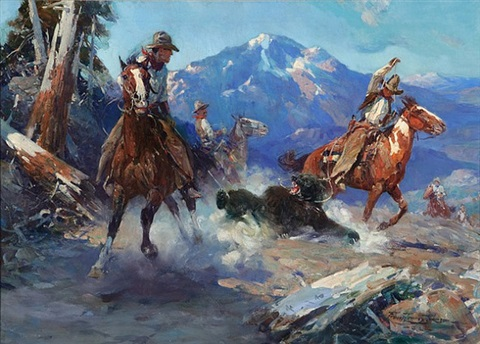 lot 105: cowboys roping the bear by frank tenney johnson