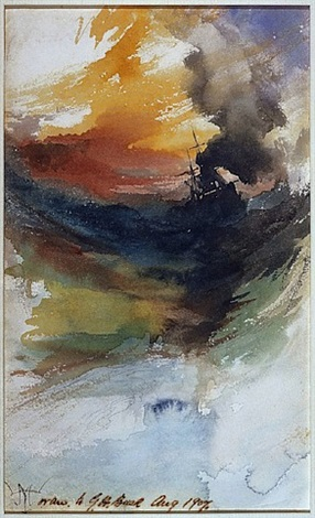 smoking ships at sea by thomas moran