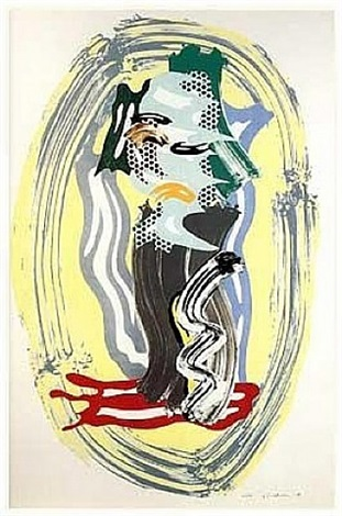 green face, from the brushstroke figures series by roy lichtenstein