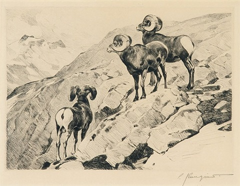 lot 4: cliff dwellers by carl clemens moritz rungius