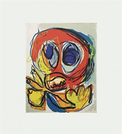 a beast-drawn man by karel appel
