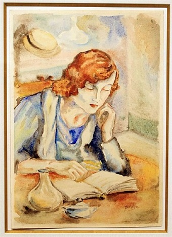lecture au cafe by jules pascin