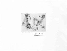 homme a la pipe, jeune femme nue et petit chien, from the 347 series, 12 august, 1968, mougins by pablo picasso