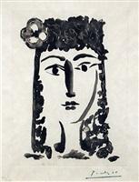 """femme a la mantille avec une fleur: carmen, from """"le carmen des carmen"""" by pablo picasso"""
