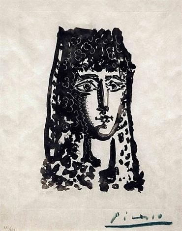 """femme a la mantille: carmen, from """"le carmen des carmen"""" by pablo picasso"""
