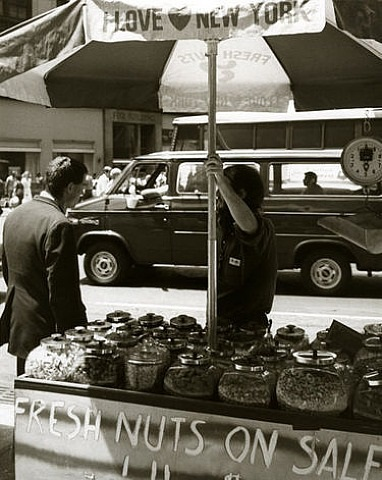 street vendor, fresh nuts on sale by andy warhol