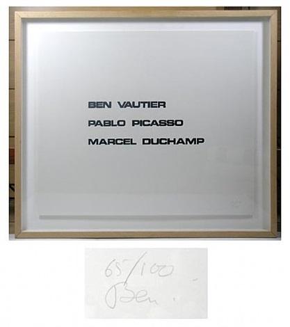 ben vautier-pablo picasso-marcel duchamp by ben