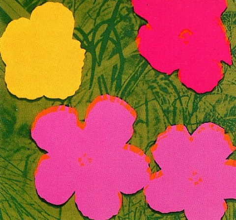 andy warhol flowers fs 68 in pink and yellow with green background