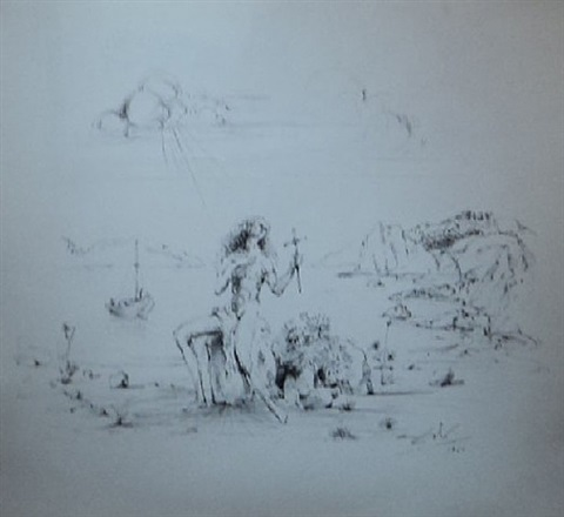 baie de port lligat avec l'homme croix by salvador dalí