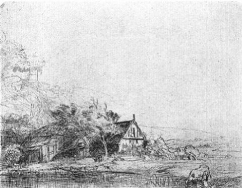 landscape with cow (b.237) by rembrandt van rijn