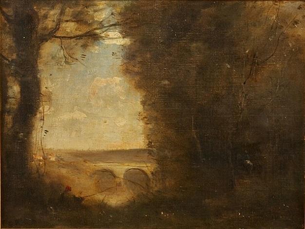 un pecheur a la ligne souvenir du pont de mantes by jean-baptiste-camille corot