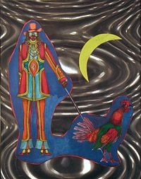 man walking a rooster by a crescent moon by richard lindner