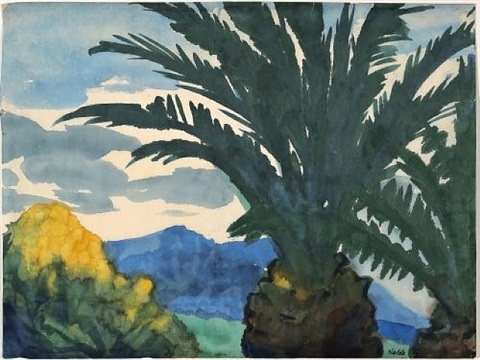 berglandschaft mit palme, neuguinea / mountain landscape with palm, new guinea by emil nolde