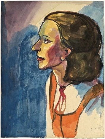 frauenportrait (profil nach links) / portrait of a woman (left profile) by emil nolde