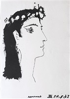 head of a woman crowned with flowers (from vingt poèmes luis de góngora y argote) by pablo picasso
