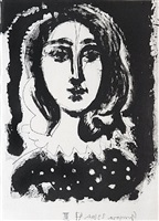 face of a woman against a black ground (from vingt poèmes luis de góngora y argote) by pablo picasso