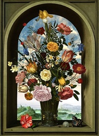 transforming still life painting (after ambrosius bosschaert the elder, vase with flowers in a window, 1618) by rob and nick carter
