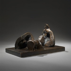 maquette for three piece reclining figure (draped) by henry moore