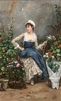 the flower seller, paris by eugène leroux