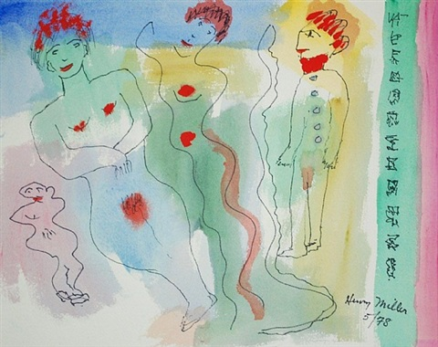 untitled (two female nudes and a male nude) by henry miller