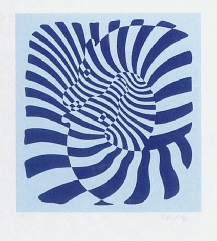 zebra couple blue by victor vasarely
