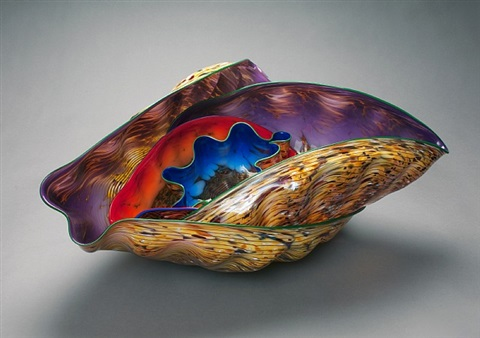 confetti pheasant macchia set with green and blue lip wraps by dale chihuly