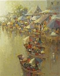 floating market ix by sampansak porsakun