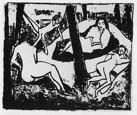 szene im wald - akte im wald (scene in the woods - nudes in the woods) by erich heckel