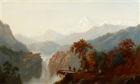epic western landscape with indians by s. w. french