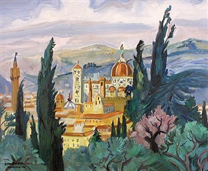 le dome entre les cypres, florence by yves brayer