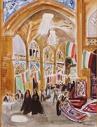 bazar, esfahan by yves brayer