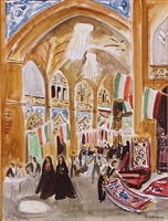 bazar, esfahan by yves brayer