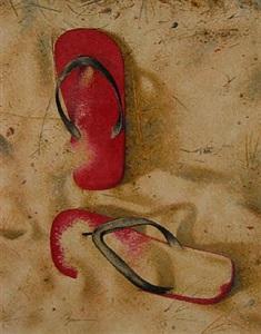 flip flops in the sand by dan brown