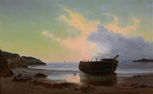 cove scene at dusk by archibald cary smith