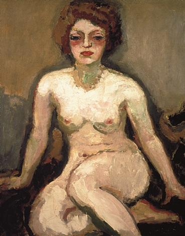 la femme blonde - nu assis by kees van dongen